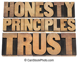 honesty, principles and trust word abstract - isolated text...