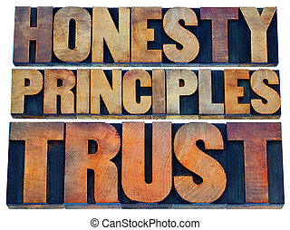 honesty, principles and trust word abstract - isolated text ...