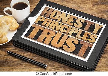 honesty, principles and trust words in vintage letterpress...