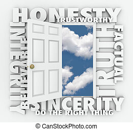 Honesty Truth Integrity Reputation 3D Word Door - Honesty,...