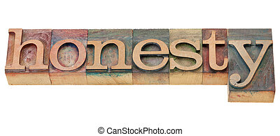 honesty word - honesty - isolated word in vintage wood...