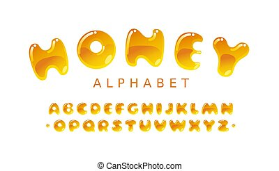 Honey alphabet. Amber bubble uppercase vector letters A-Z. Eps10. RGB. Two global colors