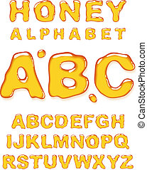 Honey alphabet. Vector letters set.