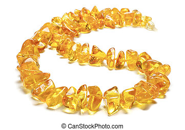Honey amber necklace isolated on th