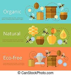 Honey, beekeeping and natural eco sugar banners