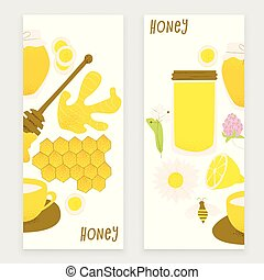 Honey and ginger design concept, vector honey comb and bee,...