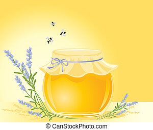 honey and lavender - an illustration of a round pot of honey...