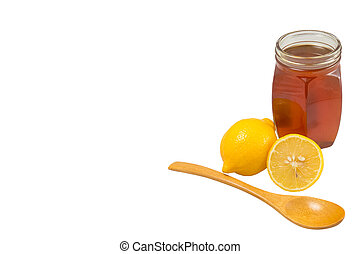 Honey and lemon on a white background, space for text