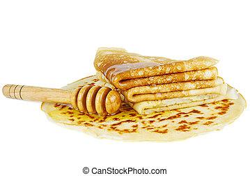 Honey and pancakes