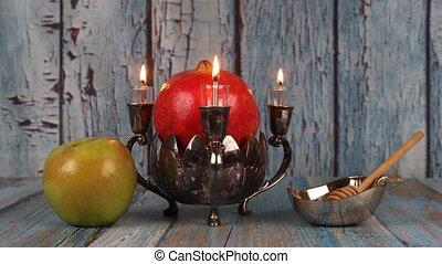 Honey, apple and pomegranate for traditional holiday symbols rosh hashanah jewesh holiday