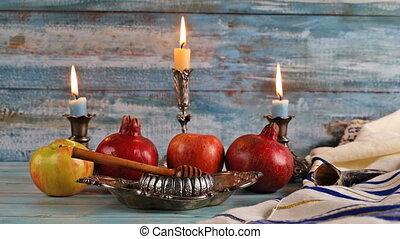 Honey, apple and pomegranate for traditional holiday symbols rosh hashanah jewish holiday