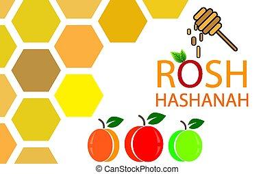 honey apples and peach for Rosh Hashanah Jewish New Year