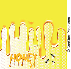 Honey background. Honeycomb, bee, wax. Design element. Viscous liquid.