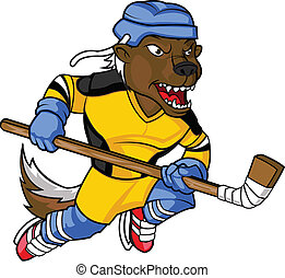 Honey badger Hockey Mascot - Intimidating Honey badger...