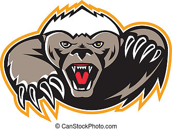 Honey Badger Mascot Claw - Illustration of a honey badger...