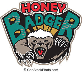 Honey Badger Mascot Front - Illustration of a honey badger (...