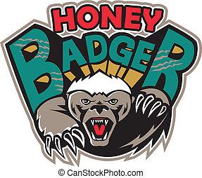 Honey Badger Mascot Front - Illustration of a honey badger...