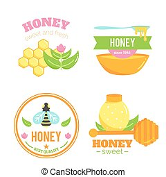 Honey badges. Logo elements. Bee design.