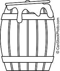 Honey barrel icon, outline style - Honey barrel icon....