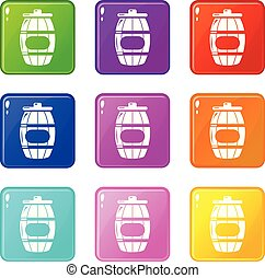 Honey barrel icons set 9 color collection