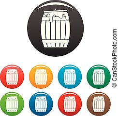 Honey barrel icons set color