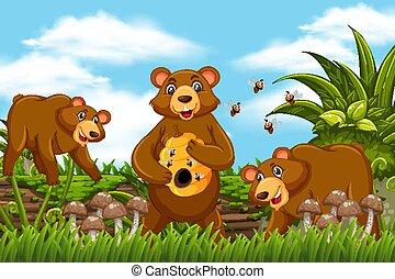 Honey bears in jungle scene