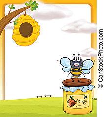 Honey bee and bottle