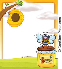 Honey bee and bottle