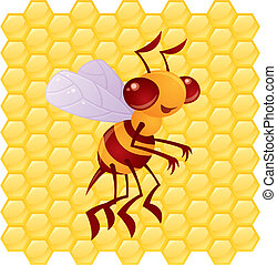 Honey Bee Cartoon with Honeycomb Background - Cute vector...