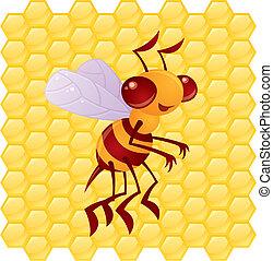 Honey Bee Cartoon with Honeycomb Background - Cute vector...