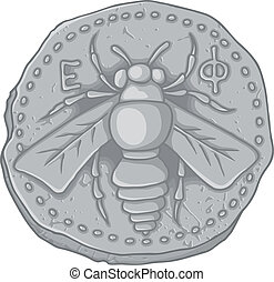 Honey bee coin - Ancient Greek coin of Ephesus Ionia 400 BC...