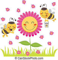Honey Bee - Two cute honey bees flying around a happy flower...