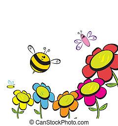 honey bee fly near flower.
