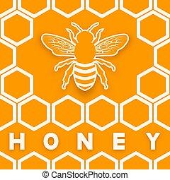 Honey bee on honeycomb orange background