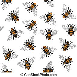 Honey Bee Seamless Pattern on White Background. Vector