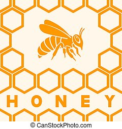 Honey bee silhouette on honeycomb background