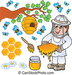 Honey bee theme collection - vector illustration.