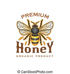 Honey bee vector icon for organic product label
