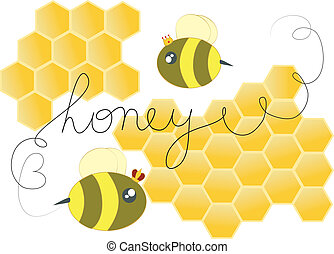 Honey bees - Cute honey bees and hives