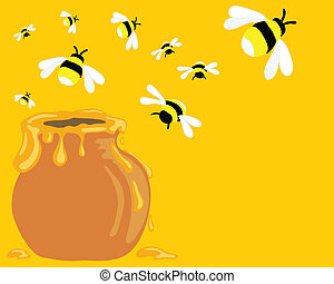 honey bees - hand drawn vector illustration of bees flying ...