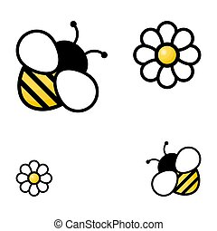 Honey bees with flowers vector isolated on the white ...