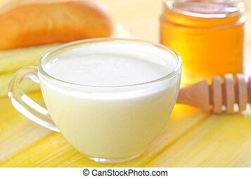 honey, bread and milk