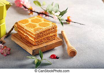 honey cake on a wooden board, dessert
