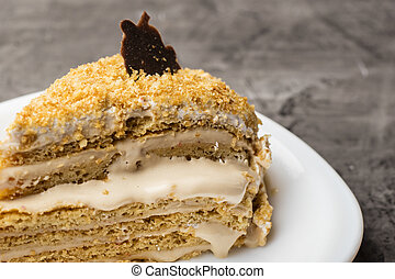 Honey cake with cream and chocolate. Delicious dessert