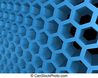 honey cellular background - abstract 3d blue honey cellular...