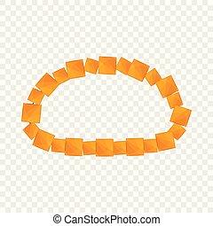 Honey color necklace icon, cartoon style