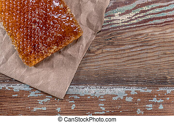 Honey Comb and Brown Paper Contrast With Copy Space Right