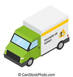 Honey delivery icon, isometric style