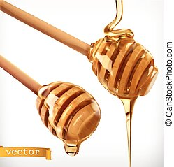 Honey dipper. 3d realistic vector icon set