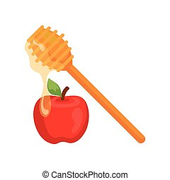 honey dipper stick with apple, on white background